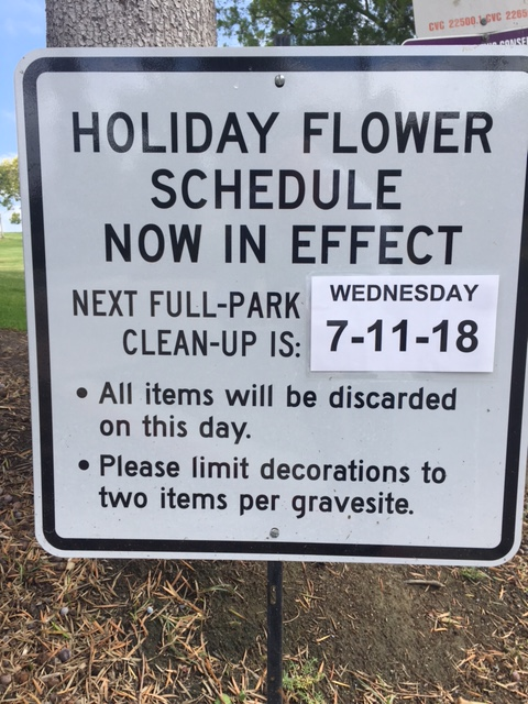 Photo of Sign for Holiday Flower Schedule