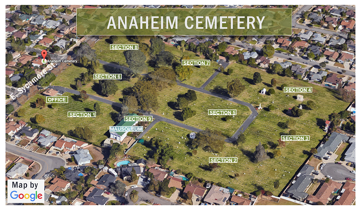 color map of Anaheim Cemetery