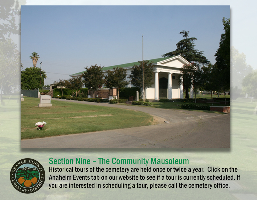Section 9: Community Mausoelum - tours available